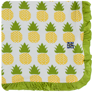 Natural Pineapple Ruffle Toddler Blanket