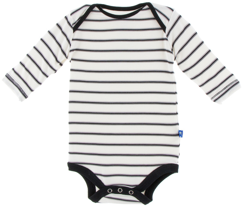 KicKee Pants - Neutral Parisian Stripe Long Sleeve One Piece - kkgivingtree - K&K's Giving Tree