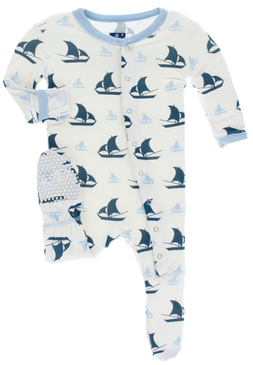 Natural Sailboat Footie w/ Snaps