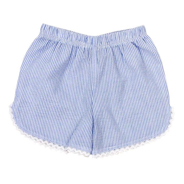 Light Blue Seersucker Girls Short