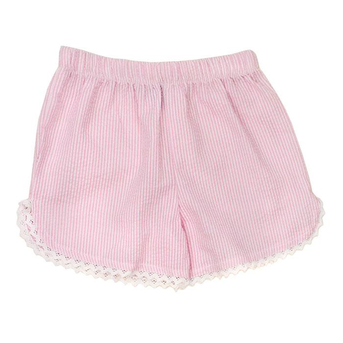 Pink Seersucker Girls Short