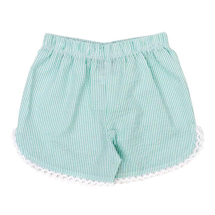 Palm Green Seersucker Girls Short