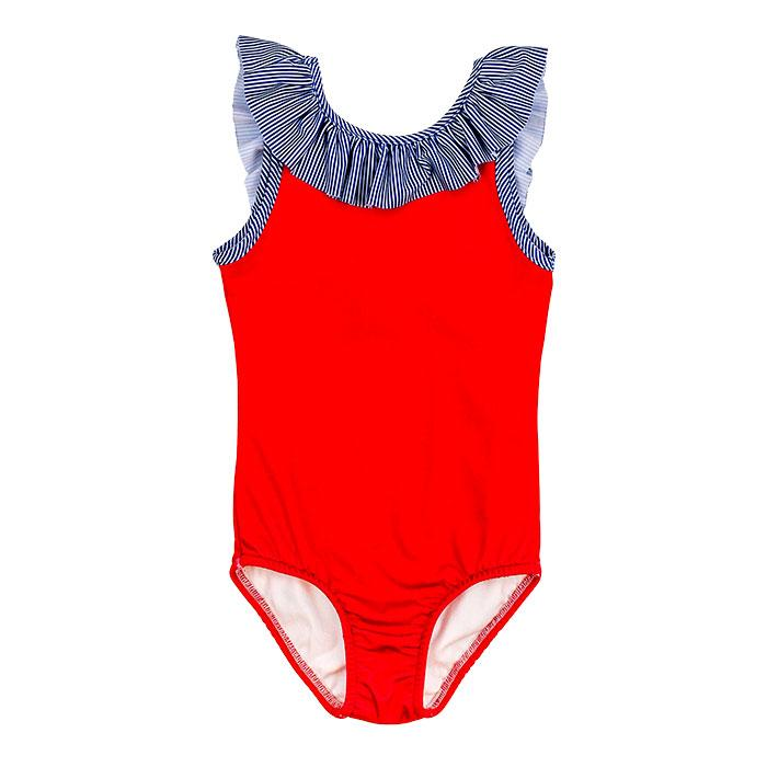 Red & Navy Stripe One Piece Swimsuit