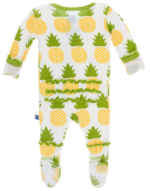 Natural Pineapple Muffin Ruffle Footie w/ Snaps