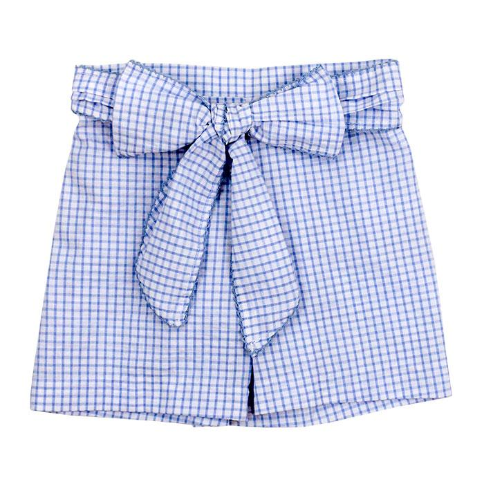 Light Blue Windowpane Seersucker Shorts with Bow