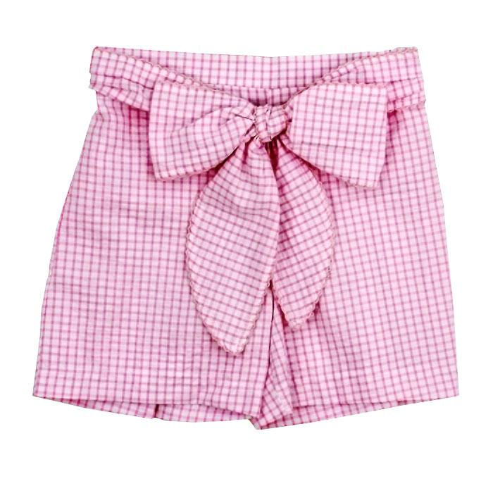 Light Pink Windowpane Seersucker Shorts with Bow