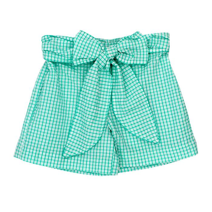Palm Green Windowpane Seersucker Shorts with Bow