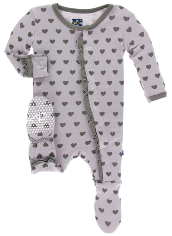 KicKee Pants Feather Hearts Classic Ruffle Footie w/ Snaps - kkgivingtree