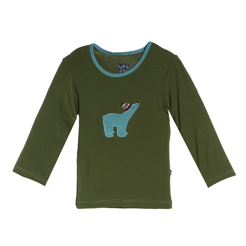 Moss Polar Bear Long Sleeve Appliqué Tee