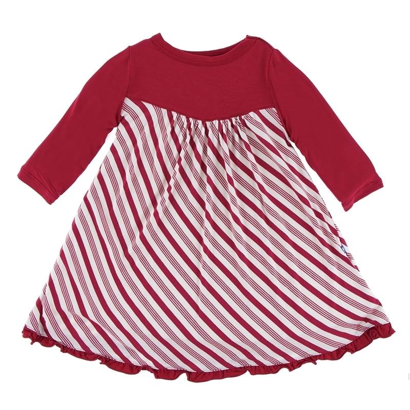 Christmas Crimson Candy Cane Stripe Classic Long Sleeve Swing Dress
