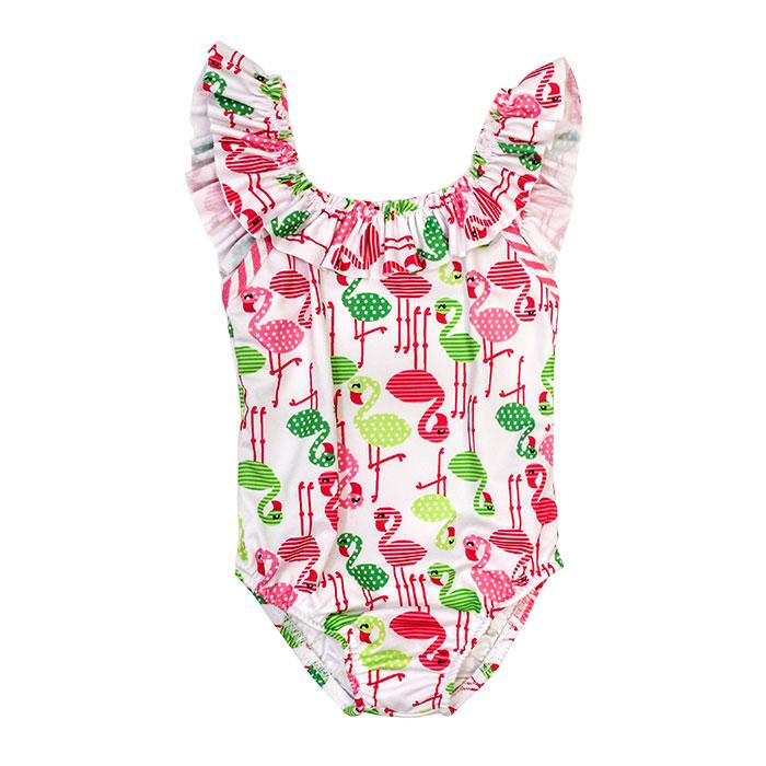 Flamingo Girls One Piece Lycra Swimsuit