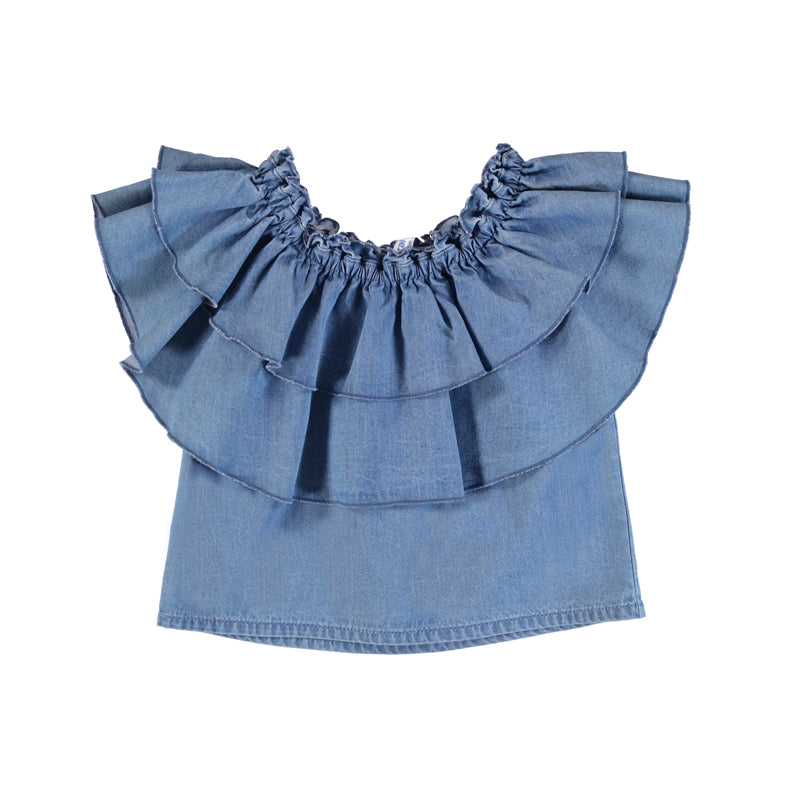 Denim Ruffled Top