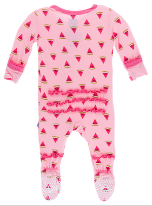Lotus Watermelon Muffin Ruffle Footie w/ Snaps