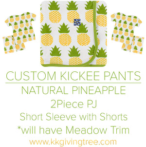 Natural Pineapple w/ Meadow Trim Short Sleeve Pajama Set w/ Shorts