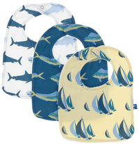 Bib Set of 3: Wallaby Sailboat Race, Twilight Dolphin Fish, Natural Megalodon