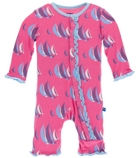 Flamingo Sailing Race Muffin Ruffle Coverall w/ Snaps