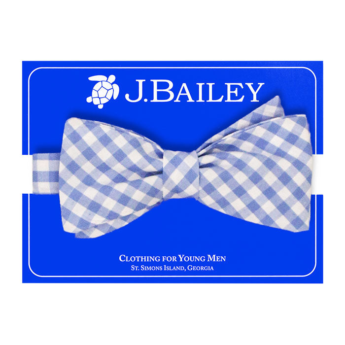 Medium Blue Check Print Johnny Bow Tie