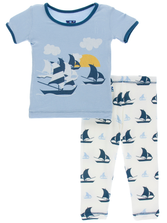 Natural Sailboat Short Sleeve Pajama Set