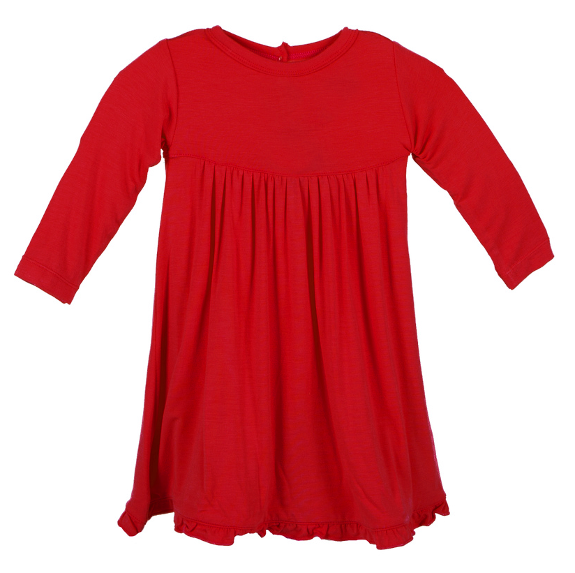 Crimson Long Sleeve Swing Dress