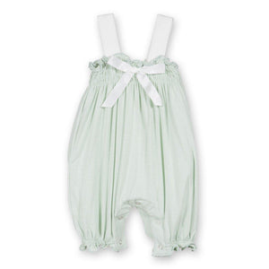Aloe Gathered Romper W/ Natural Contrast Bow