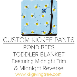 Pond Bees Toddler Blanket w/ Midnight Trim & Midnight Reverse