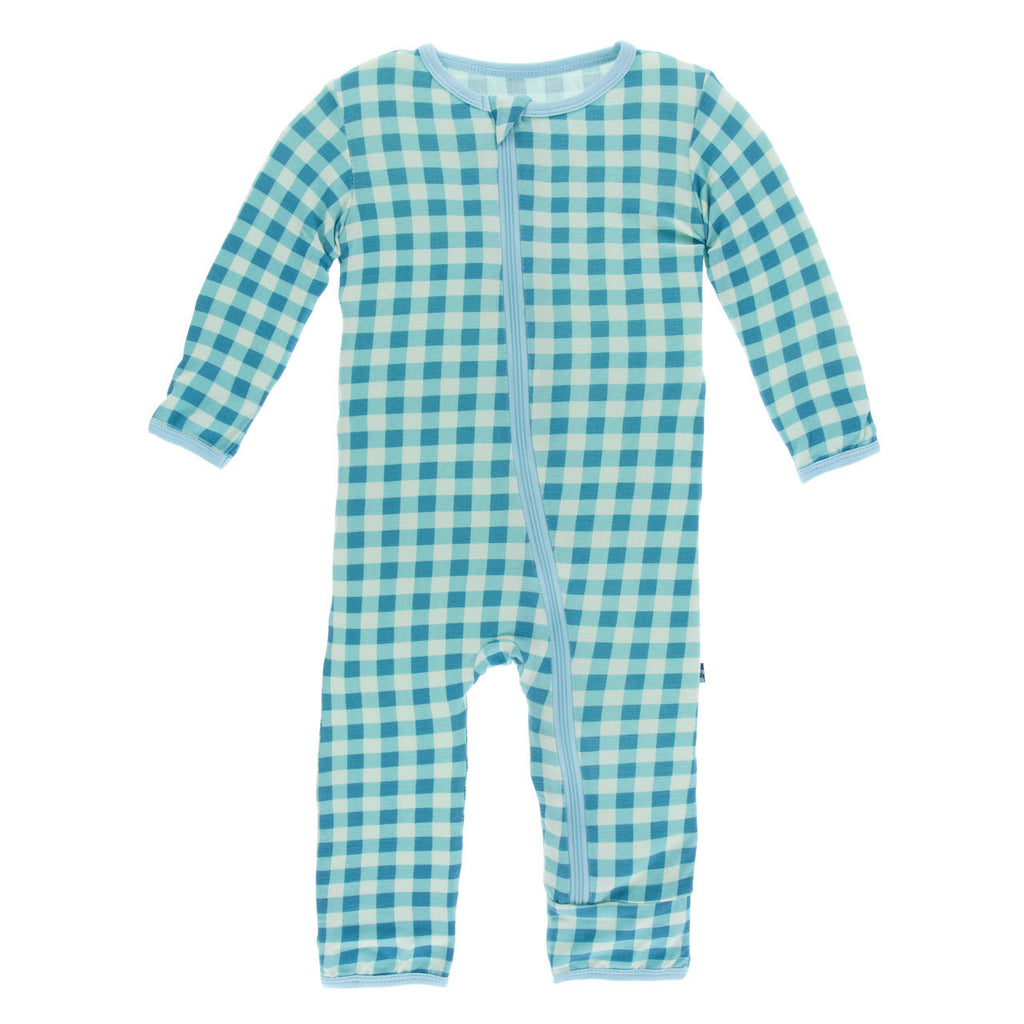 Pistachio Gingham Coverall with Zipper