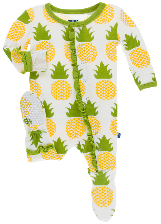 Natural Pineapple Classic Ruffle Footie w/ Snaps