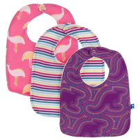 KicKee Pants - Bib Set of 3: Flamingo Emu, Girl Perth Stripe, Starfish Kangaroo - kkgivingtree - K&K