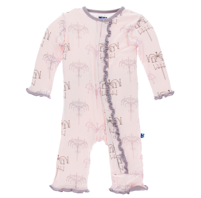 Macaroon Chandelier Muffin Ruffle Coverall w/ Snaps