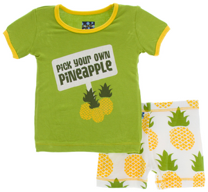 Natural Pineapple Short Sleeve Pajama Set w/ Shorts