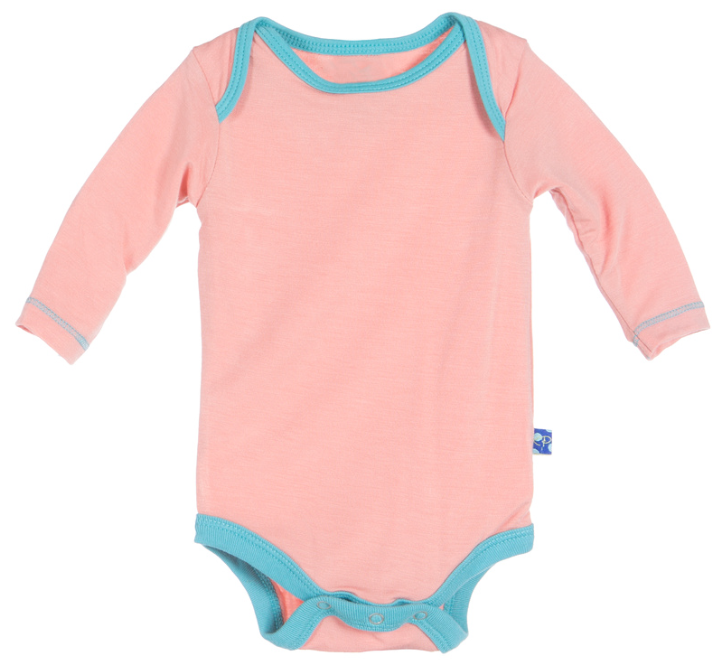 KicKee Pants Blush with Glacier Long Sleeve One Piece - kkgivingtree