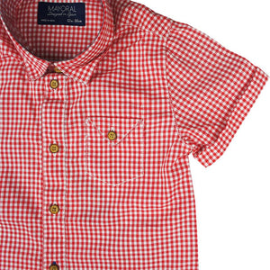Mayoral - Red Checked Shortsleeve Shirt - kkgivingtree - K&K's