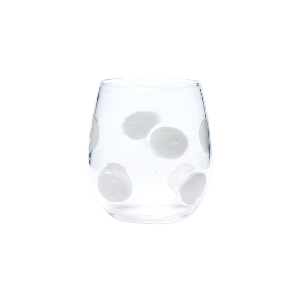 White Drop Stemless Wine Glass