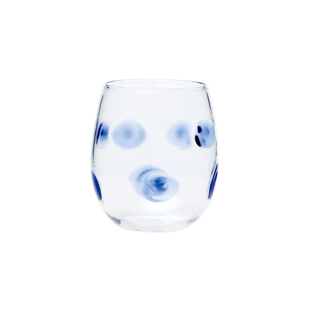 Blue Stemless Wine Glass