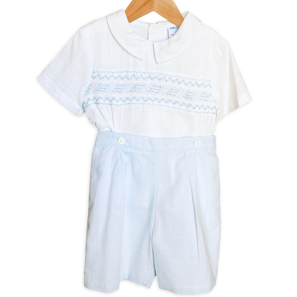 Baby Blue & White Smocked Two Piece Set