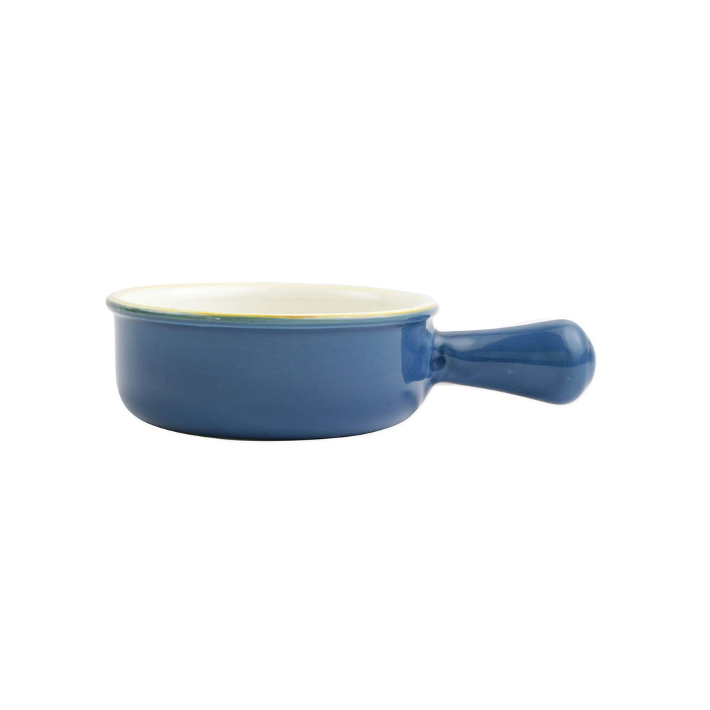 Italian Bakers Blue Small Round Baker w/ Large Handle