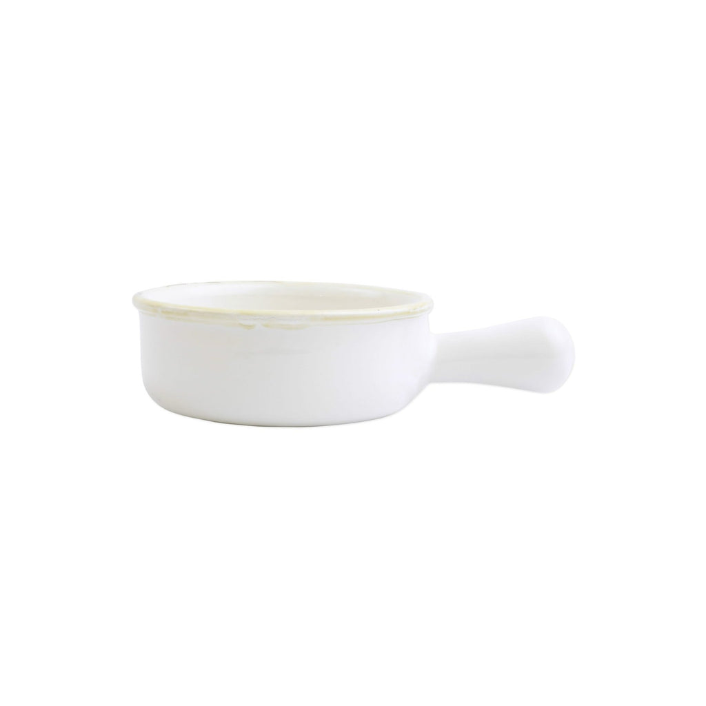 Italian Bakers White Small Round Baker w/ Large Handle