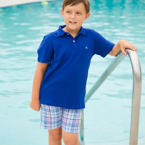 2 Button Royal Blue Short Sleeve Polo