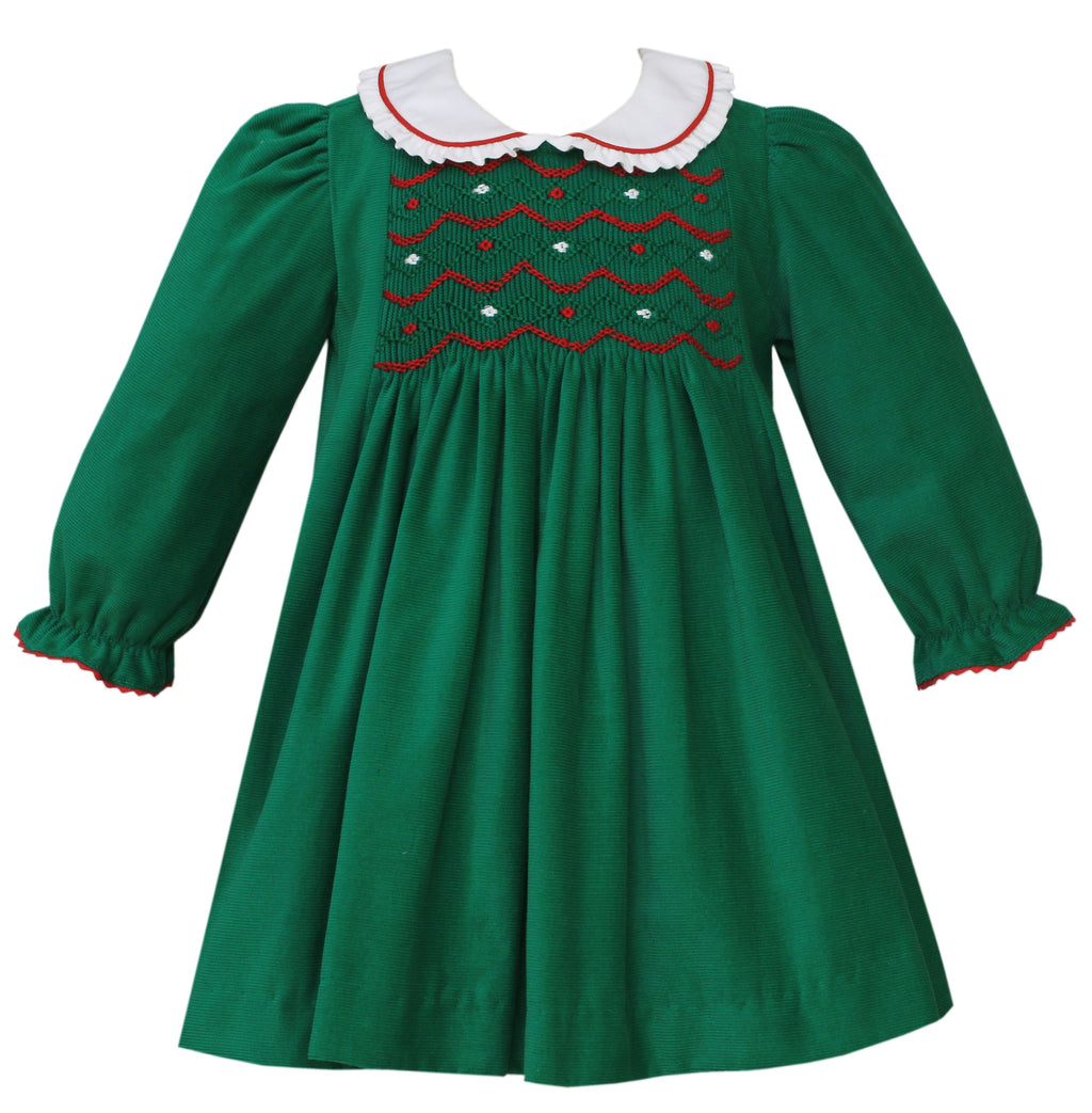 Green Corduroy Float Dress w/ White Collar