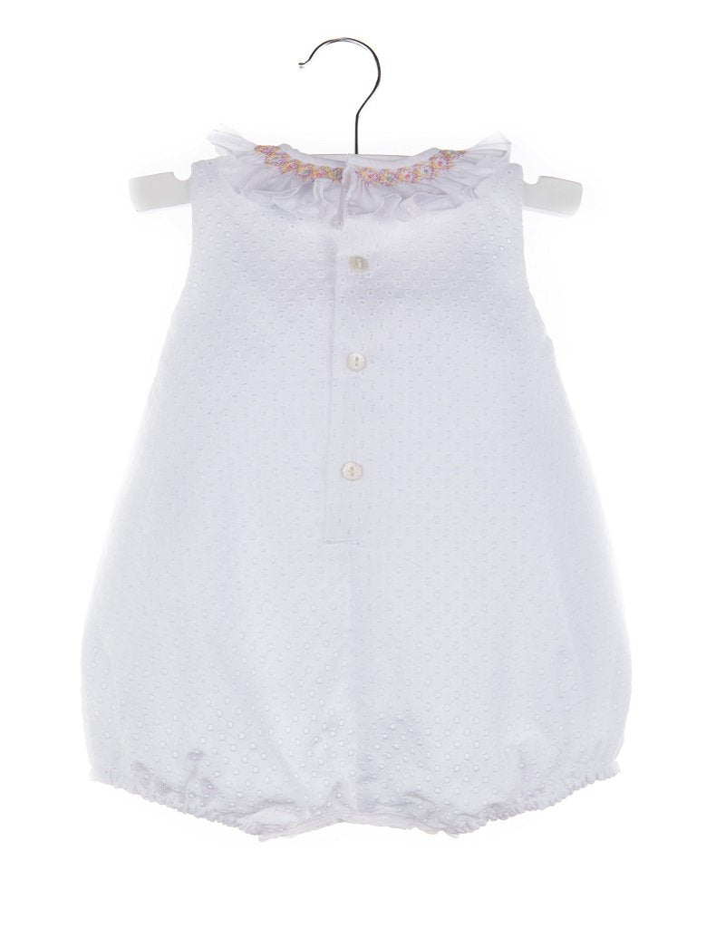Eyelet Bubble in White with Smocked Collar