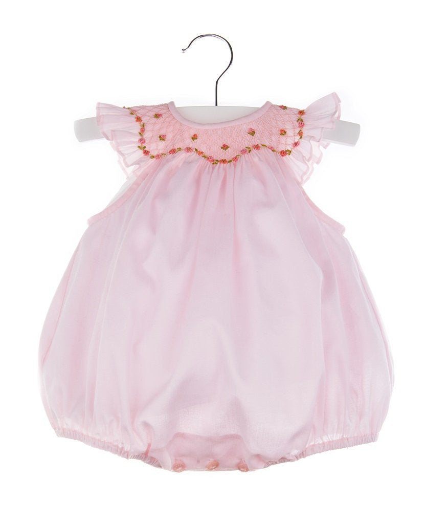 Pink Organdi Smocked Bubble with Bonnet
