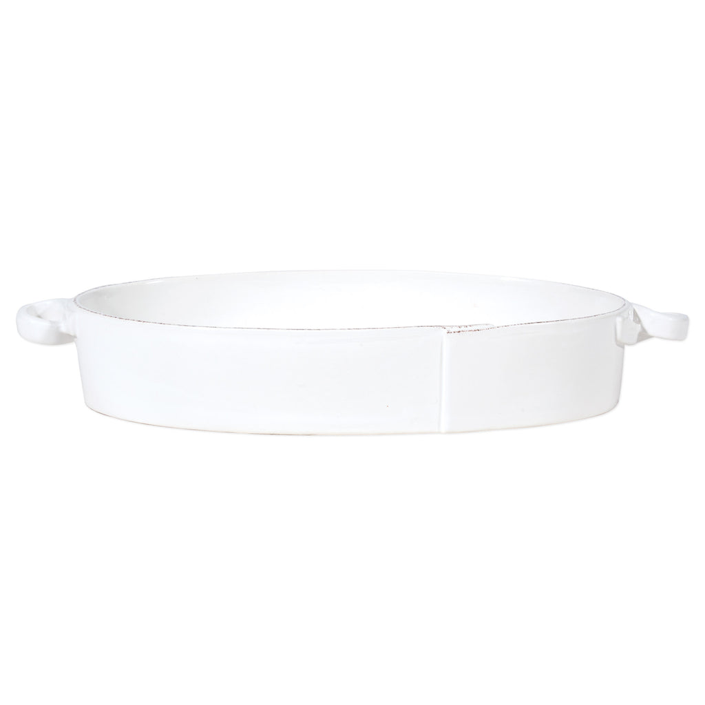Lastra White Handled Oval Baker