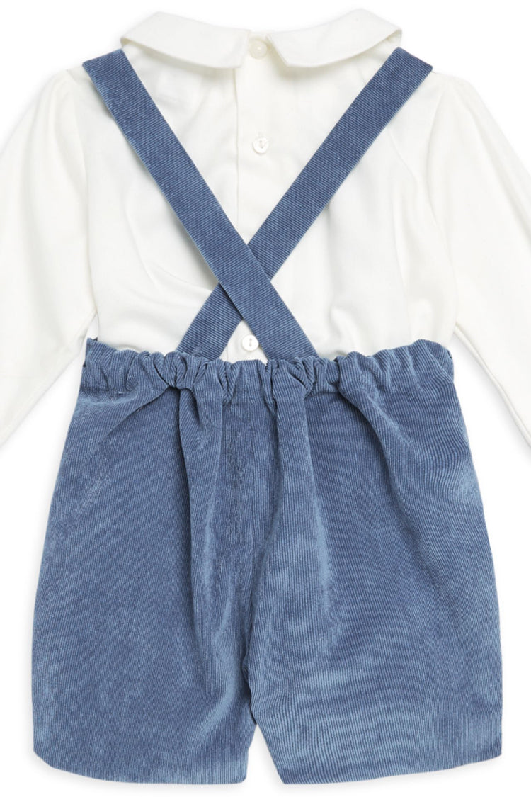 Blue Corduroy Overall & Shirt Set