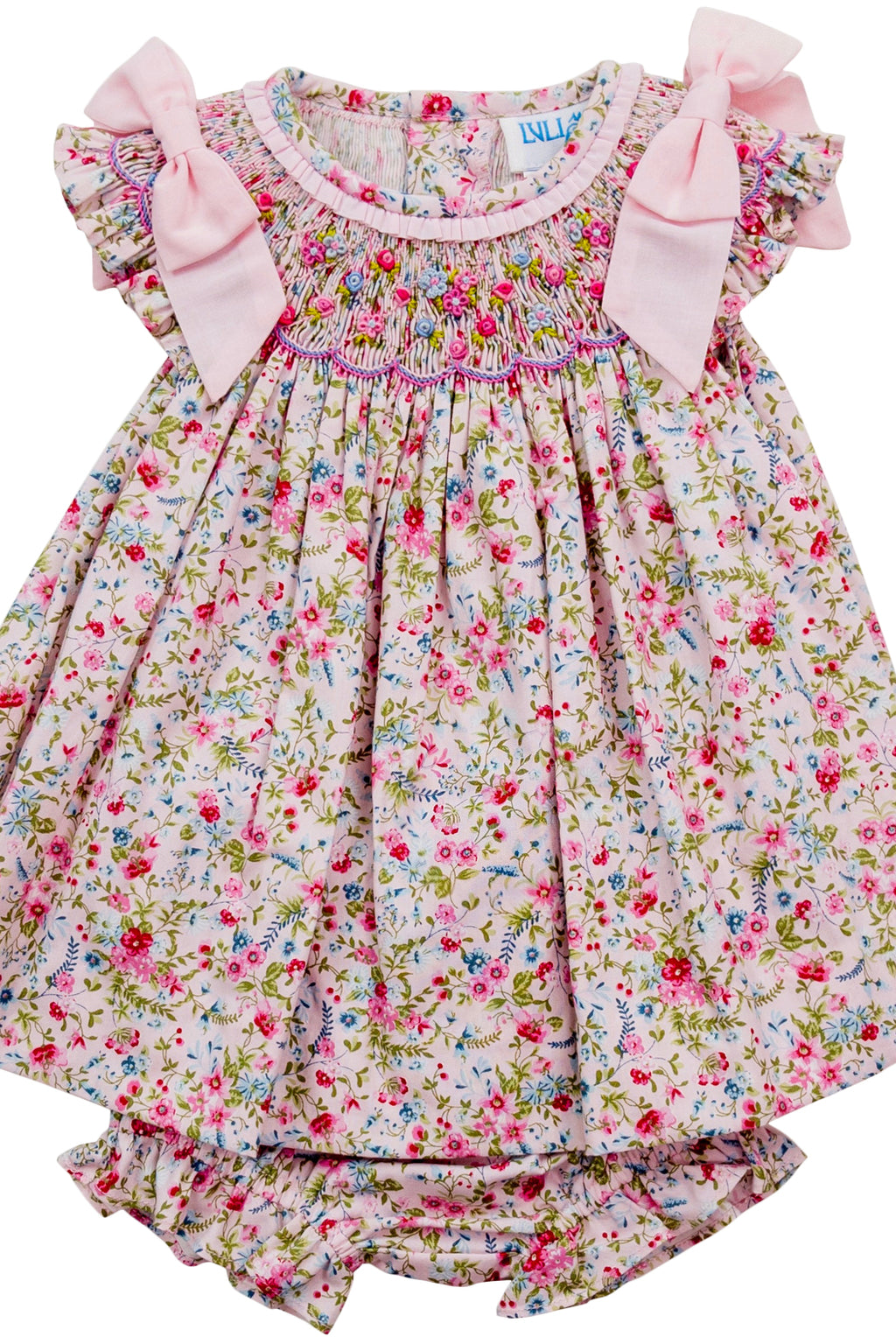 Floral Smocked Dress w/ Bows & Bloomers
