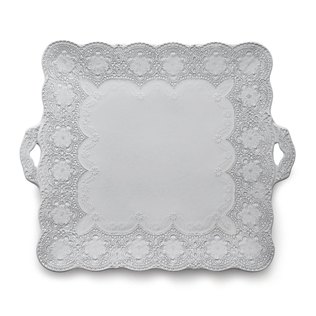 Merletto White Square Platter with Handles