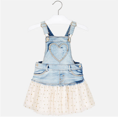 Denim Coverall Dress With Gold Tulle Skirt