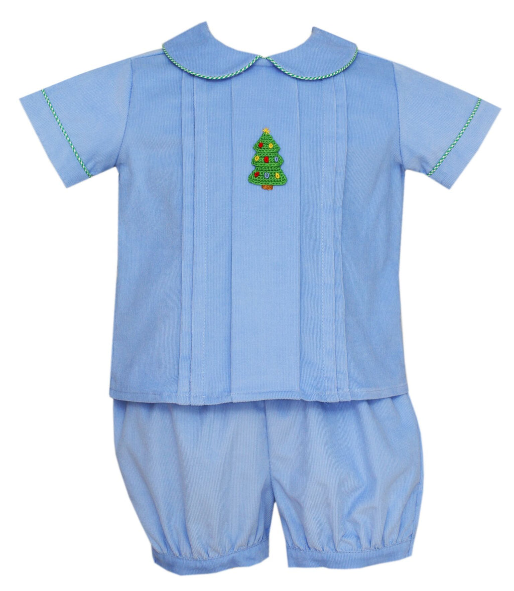 Blue Corduroy Christmas Tree Top and Bottom Set