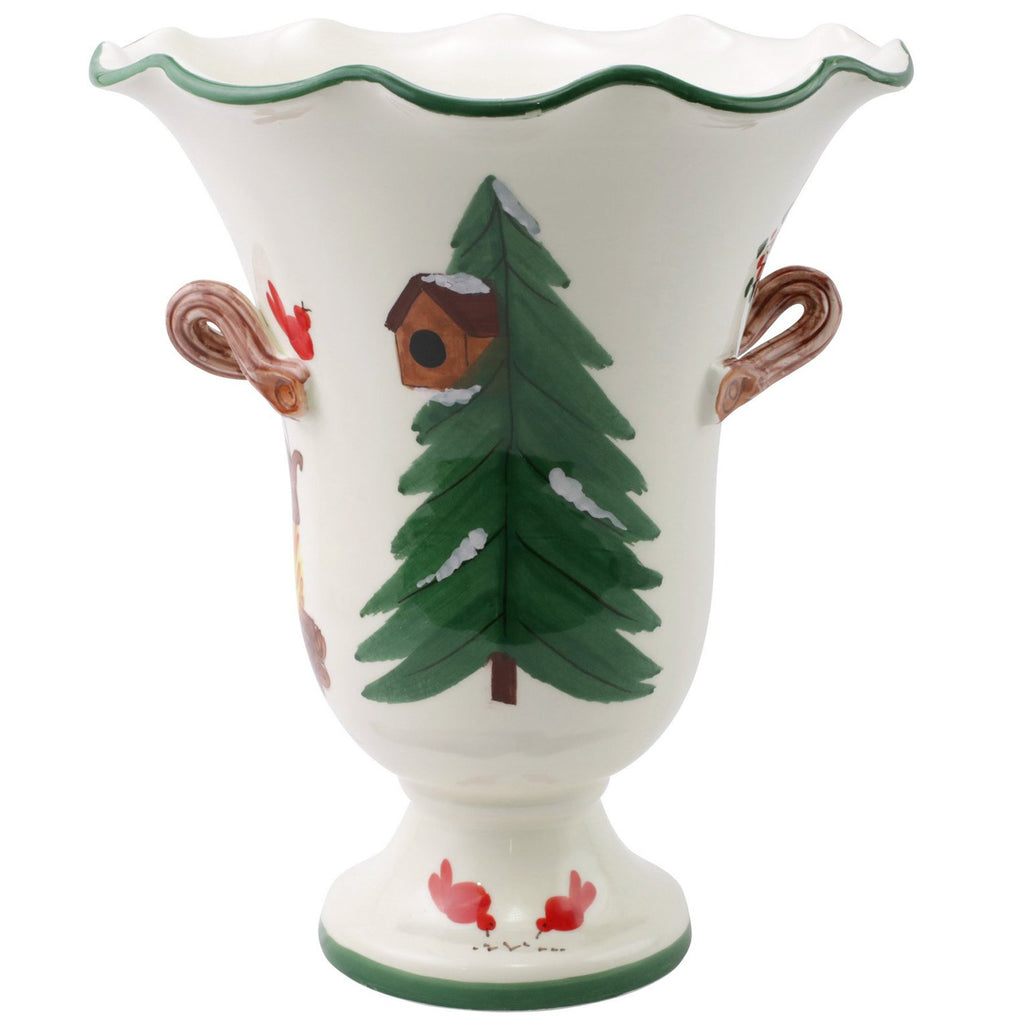 Old St. Nick Large Footed Cachepot w/ Campfire