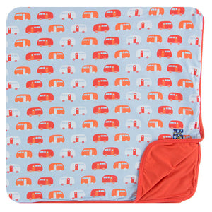 Pond Camper Toddler Blanket w/ Poppy Trim & Poppy Reverse
