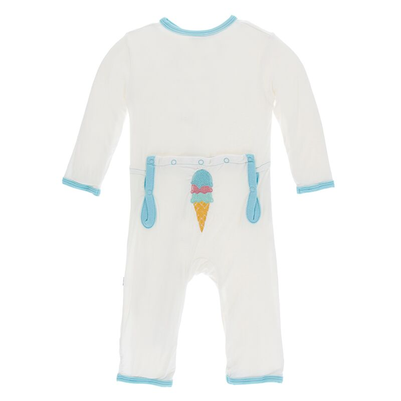 Natural Ice Cream Applique Coverall with Zipper